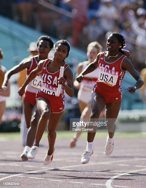 Chandra Cheeseborough hands off the baton to Evelyn Ashford of the United States during the Women's 4 × 100 metres Relay event on 11th August 1984...