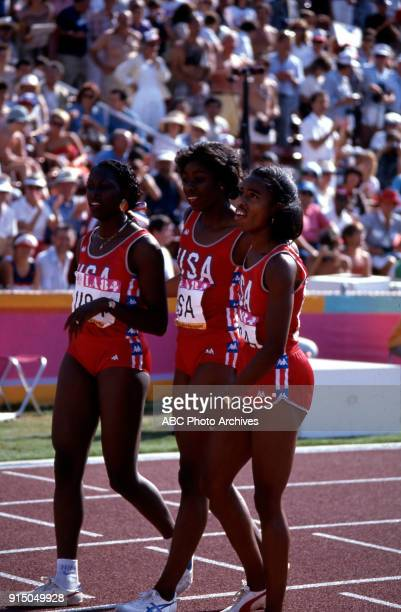 Chandra Cheeseborough Jeanette Bolden Evelyn Ashford Women's Track 4 × 100 metres relay competition Memorial Coliseum at the 1984 Summer Olympics...