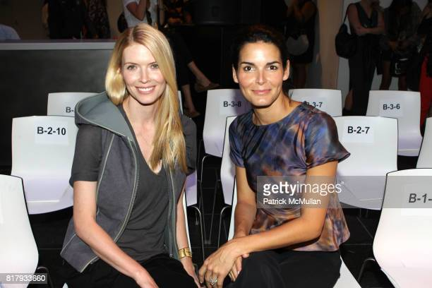 Chandra Johnson and Angie Harmon attend Christian Cota Spring 2011 Fashion Show at David Rubenstein Atrium NYC on September 11 2010