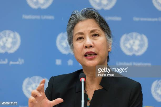 Chandra RoyHenriksen Chief of the Secretariat of the Permanent Forum on Indigenous Issues speaks with the press In conjunction with the 61st meeting...