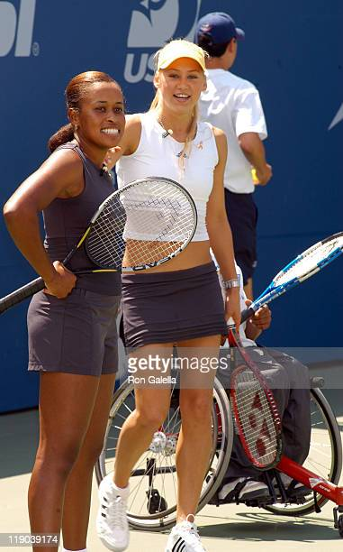 Chandra Rubin and Anna Kournikova during 2003 US Open - Arthur Ashe Kids Day at USTA National Tennis Center in Queens, New York, United States.