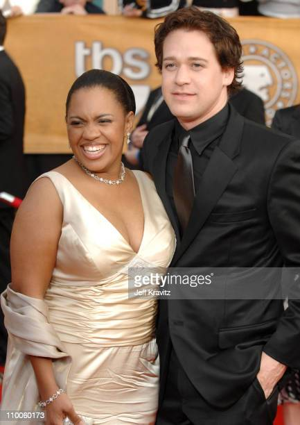 Chandra Wilson and TR Knight during 13th Annual Screen Actors Guild Awards Arrivals at Shrine Auditorium in Los Angeles California United States