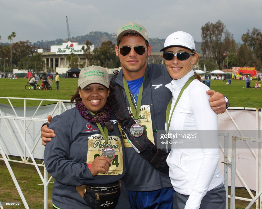 Chandra Wilson, Justin Chambers and Kim Raver attend the Rock n' Roll Marathon Pasadena at the Rose Bowl on February 19, 2012 in Pasadena, California.