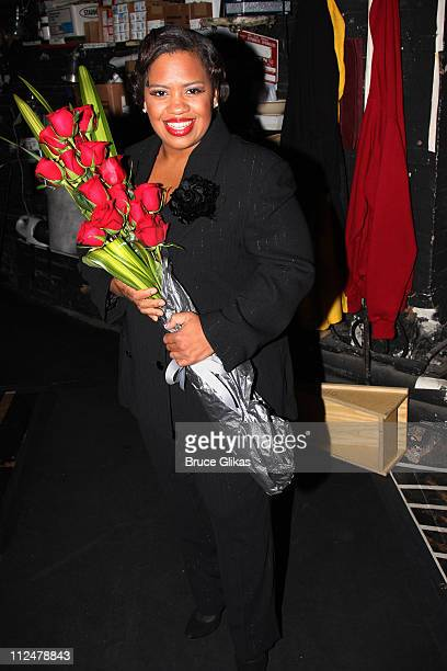Chandra Wilson poses backstage following her debut performance in 'Chicago' on Broadway at The Ambassador Theater on June 8 2009 in New York City