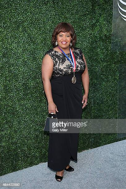 Chandra Wilson poses on the red carpet for the Texas Medal of Arts Awards at the Long Center on February 25 2015 in Austin Texas
