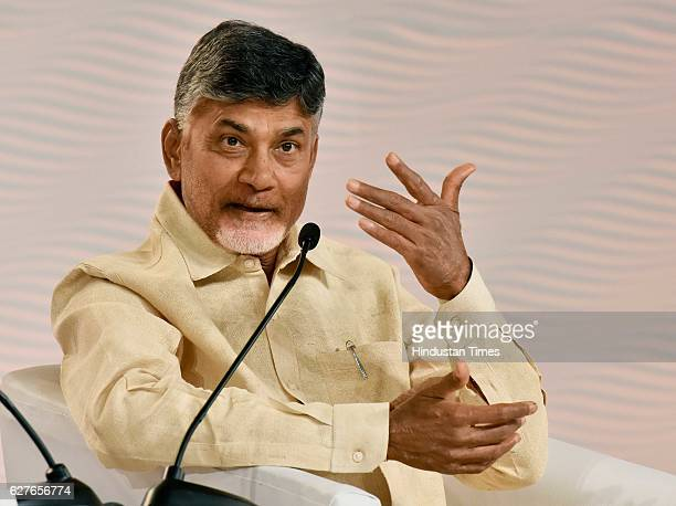 N Chandrababu Naidu Chief Minister of Andhra Pradesh in conversation with Bobby Gosh EditorInChief during the Hindustan Times Leadership Summit 2016...
