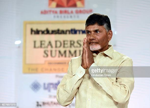N Chandrababu Naidu Chief Minister of Andhra Pradesh in conversation with Bobby Ghosh EditorInChief Hindustan Times during the Hindustan Times...