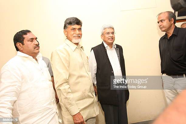 Chandrababu Naidu former Chief Minister of Andhra Pradesh and Telugu Desam Party President with Prakash Karat General Secretary of the Communist...