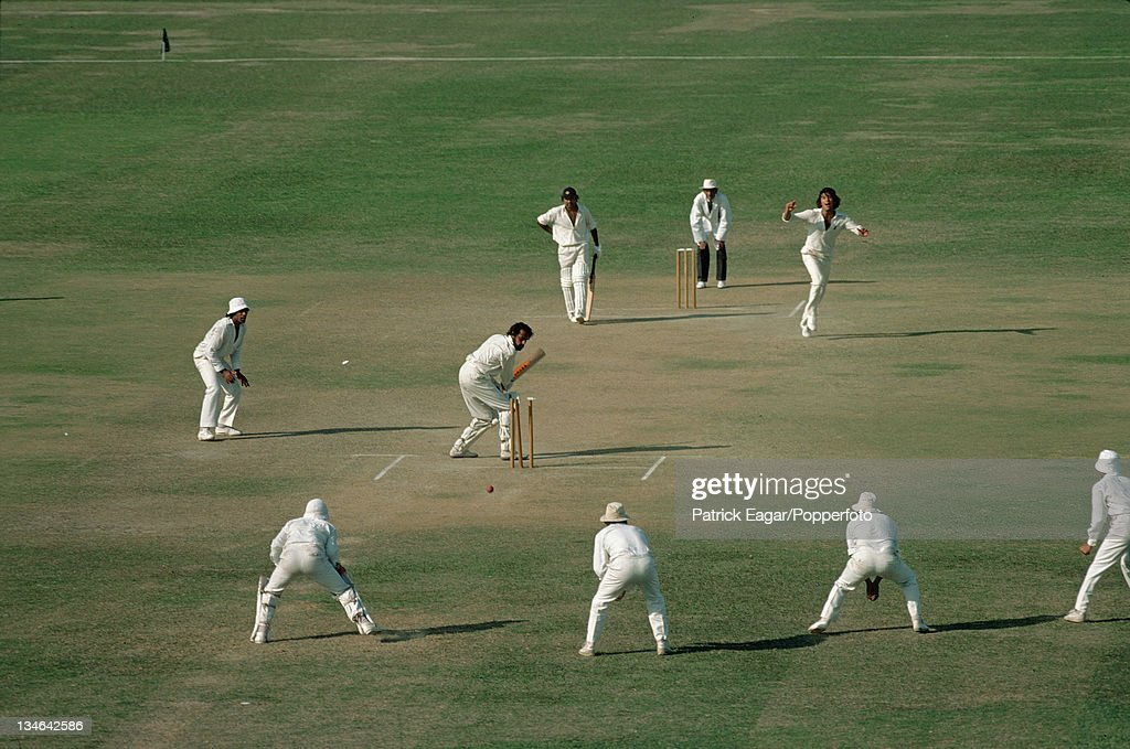 Chandrasekhar is bowled by Imran Khan Pakistan v India 2nd Test Lahore Oct 197879