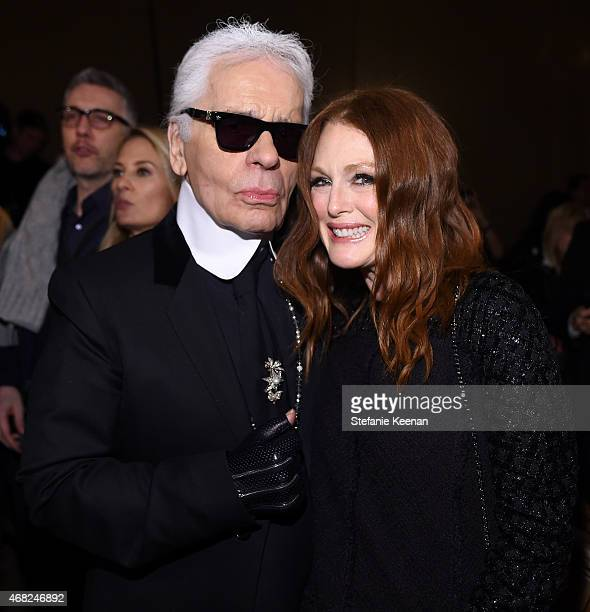 Chanel Artistic Director Karl Lagerfeld and actress Julianne Moore attend the CHANEL ParisSalzburg 2014/15 Metiers d'Art Collection in New York City...