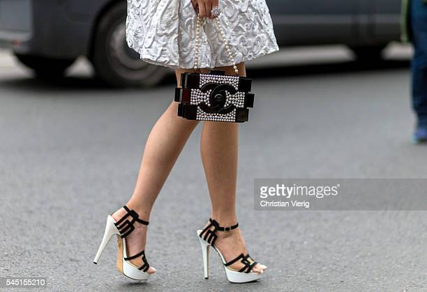 Chanel bag outside Chanel during Paris Fashion Week Haute Couture F/W 2016/2017 on July 5 2016 in Paris France