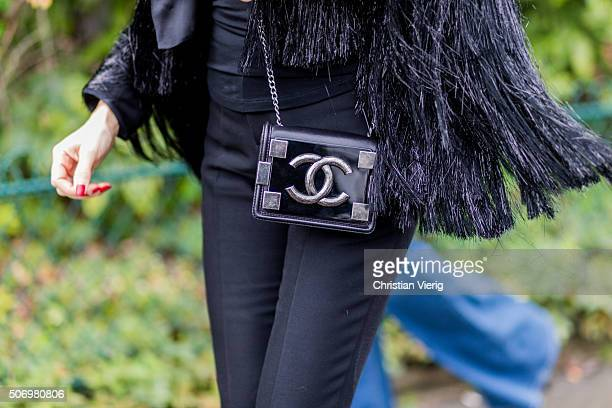 A Chanel bag outside Chanel during the Paris Fashion Week Haute Couture Spring/Summer 2016 on January 26 2016 in Paris France