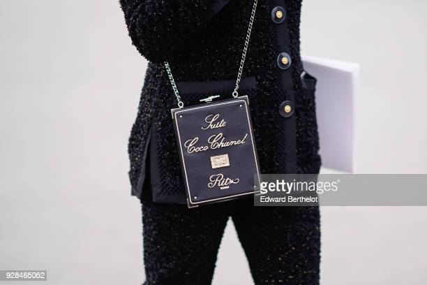"""Chanel bag """"Suite Coco Chanel Ritz"""" is seen , outside Chanel, during Paris Fashion Week Womenswear Fall/Winter 2018/2019, on March 6, 2018 in Paris,..."""