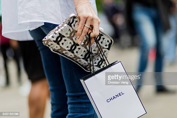 Chanel clutch outside Chanel during Paris Fashion Week Haute Couture F/W 2016/2017 on July 5 2016 in Paris France