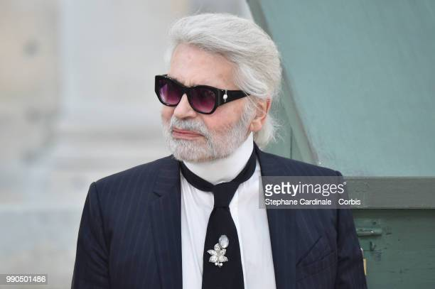 Chanel Designer Karl Lagerfeld walks the runway during the Chanel Haute Couture Fall Winter 2018/2019 show as part of Paris Fashion Week on July 3...