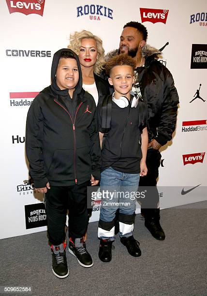 Chanel Fielder and Prince Fielder pose backstage at the Rookie USA Presents Kids Rock Front Row Backstage Fall 2016 New York Fashion Week The Shows...