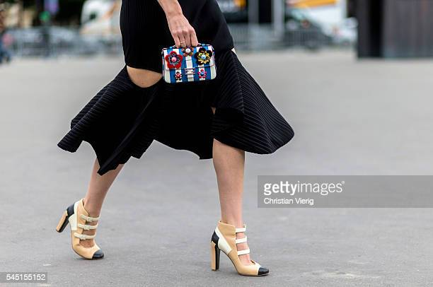 Chanel heels outside Chanel during Paris Fashion Week Haute Couture F/W 2016/2017 on July 5 2016 in Paris France