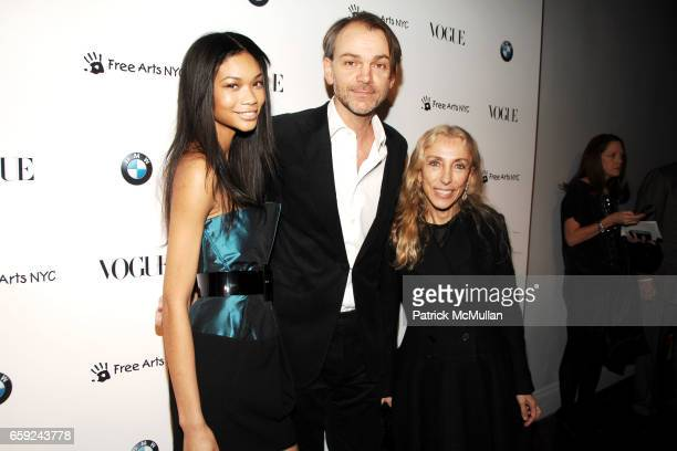 Chanel Iman Adrian Van Hooydonk and Franca Sozzani attend VOGUE and BMW party to celebrate the new 2009 BMW 7 Series with Free Arts NYC at 122 West...