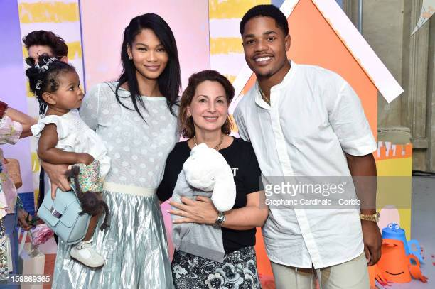 Chanel Iman and daughter Cali Clay Shepard with Anne Valerie Hash and Sterling Shepard attend the Bonpoint show as part of Paris Fashion Week on July...