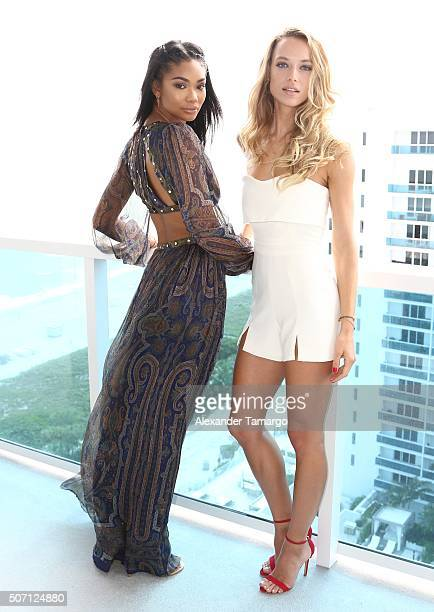 Chanel Iman and Hannah Ferguson are seen during the press conference to announce the 2016 SI Swimsuit launch week festivities at 1 Hotel Homes South...
