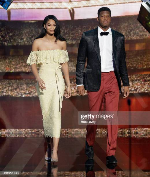 Chanel Iman and Jameis Winston present the AP Defensive Rookie of the Year award at the NFL Honors at the Wortham Theater Center on February 4 2017...