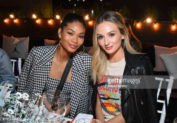 Chanel Iman and Lauren Bushnell attend the Flaunt Magazine Dinner with Nike and Revolve on February 15 2018 in Los Angeles California
