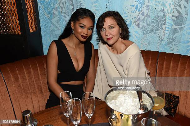 Chanel Iman and Maggie Gyllenhaald attend the VANDAL Grand Opening in New York City on January 15 2016 in New York City