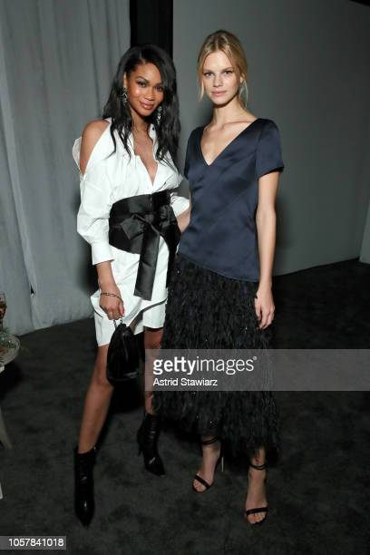 Chanel Iman and Nadine Leopold attend the CFDA / Vogue Fashion Fund 15th Anniversary Event at Brooklyn Navy Yard on November 5 2018 in Brooklyn New...