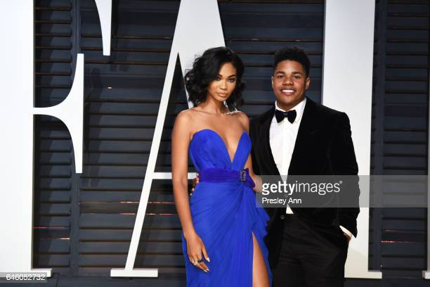 Chanel Iman and NFL player Sterling Shepard attend the 2017 Vanity Fair Oscar Party hosted by Graydon Carter at Wallis Annenberg Center for the...