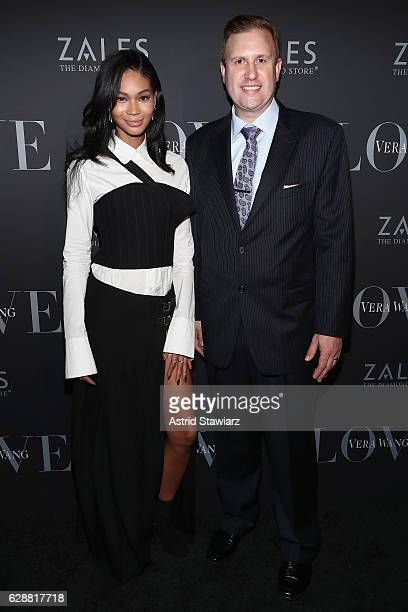 Chanel Iman and Scott Davies attend the Vera Wang LOVE holiday cocktail soiree at Betony on December 7 2016 in New York City