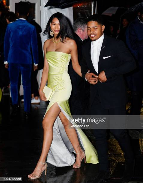 Chanel Iman and Sterling Shepard are seen at amFAR gala on February 6 2019 in New York City
