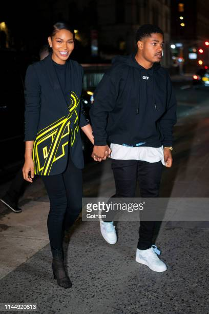 Chanel Iman and Sterling Shepard attend OffWhite private dinner at L'Avenue in Midtown on April 24 2019 in New York City