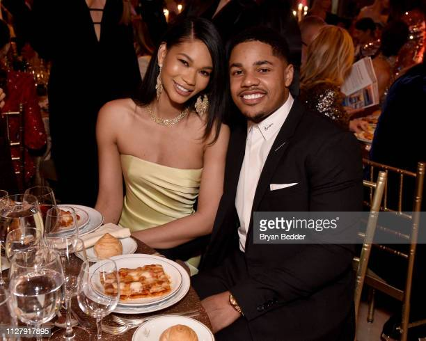 Chanel Iman and Sterling Shepard attend the amfAR Gala New York 2019 at Cipriani Wall Street on February 06 2019 in New York City