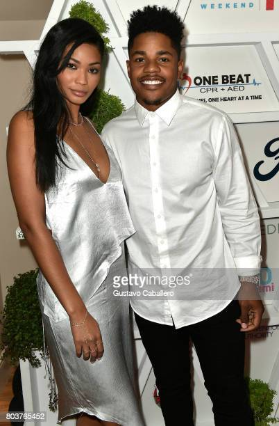 Chanel Iman and Sterling Shepard attends the Gala Benefiting Irie Foundation on June 29 2017 in Miami Beach Florida
