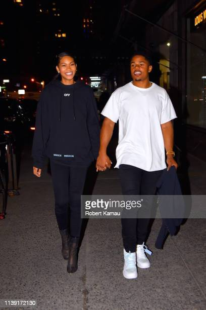 Chanel Iman and Sterling Shepard seen out and about in Manhattan on April 24 2019 in New York City