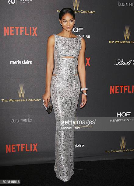 Chanel Iman arrives at the 2016 Weinstein Company and Netflix Golden Globes afterparty held on January 10 2016 in Los Angeles California