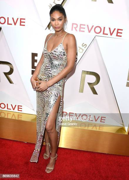 Chanel Iman arrives at the #REVOLVEawards at DREAM Hollywood on November 2 2017 in Hollywood California