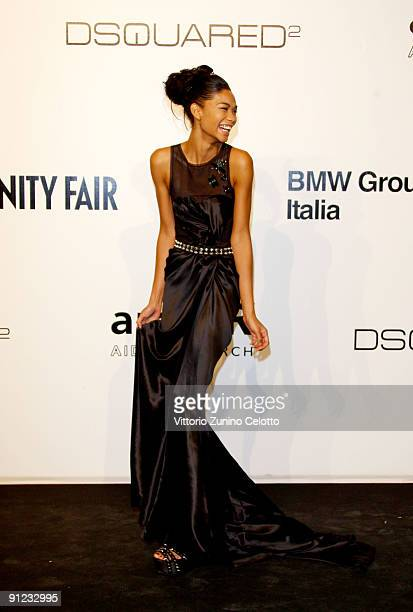 Chanel Iman attends amfAR Milano 2009 red carpet the Inaugural Milan Fashion Week event at La Permanente on September 28 2009 in Milan Italy