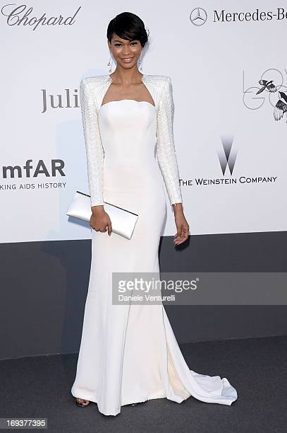 Chanel Iman attends amfAR's 20th Annual Cinema Against AIDS during The 66th Annual Cannes Film Festival at Hotel du CapEdenRoc on May 23 2013 in Cap...