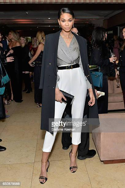 Chanel Iman attends Harper's BAZAAR celebration of the 150 Most Fashionable Women presented by TUMI in partnership with American Express La Perla and...