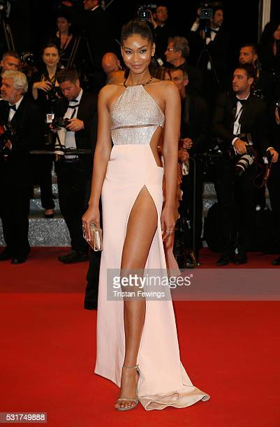 Chanel Iman attends the 'Hands Of Stone' premiere during the 69th annual Cannes Film Festival at the Palais des Festivals on May 16 2016 in Cannes...