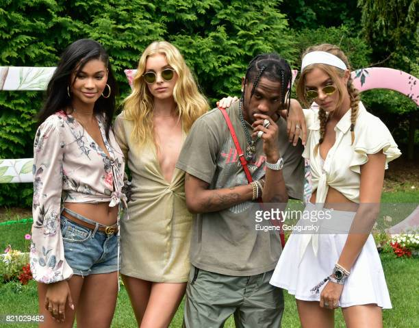 Chanel Iman Elsa Hosk Travis Scott and Josephine Skriver attend the FIJI Water at #REVOLVEintheHamptons 2017 on July 22 2017 in Bridgehampton New York