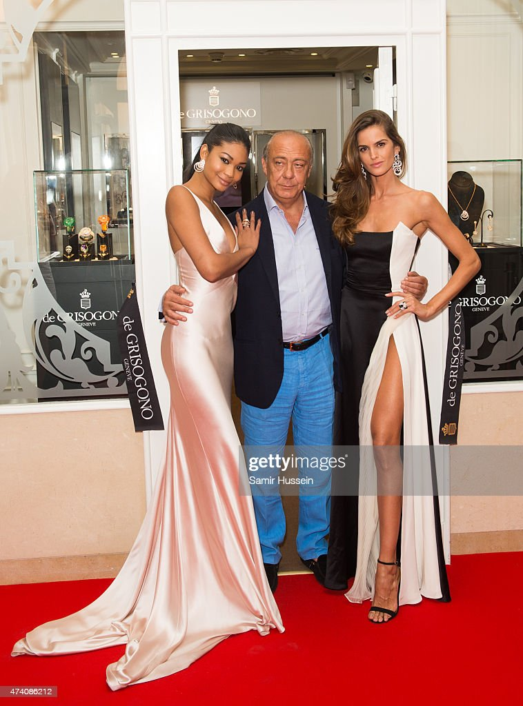 Chanel Iman, Fawaz Gruosi and Izabel Goulart attend the opening of the De Grisogono store during the 68th annual Cannes Film Festival on May 20, 2015 in Cannes, France.