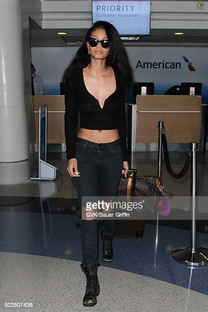 Chanel Iman is seen at LAX on April 19 2016 in Los Angeles California