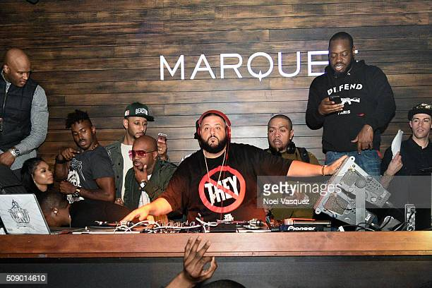 Chanel Iman Swizz Beatz Jermaine Dupri DJ Khaled and Timbaland attend the Marquee Takeover at Verso Big Game Weekend presented by Hennessy VS Day 4...
