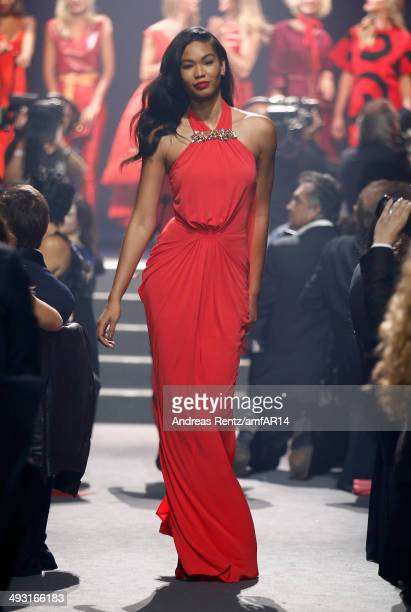 Chanel Iman walks the runway during amfAR's 21st Cinema Against AIDS Gala Presented By WORLDVIEW BOLD FILMS And BVLGARI at Hotel du CapEdenRoc on May...