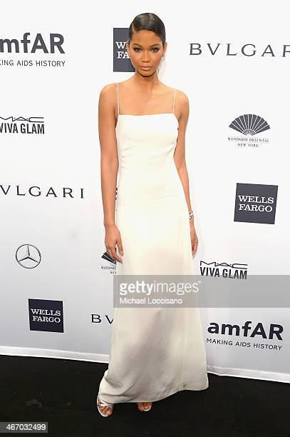 Chanel Iman wearing Bulgari attends the 2014 amfAR New York Gala at Cipriani Wall Street on February 5 2014 in New York City