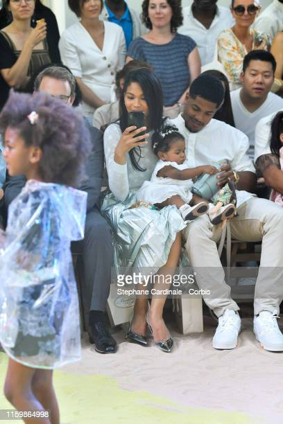 Chanel Iman with her daughter Cali Clay Shepard and husband Sterling Shepard attend the Bonpoint show as part of Paris Fashion Week on July 03 2019...