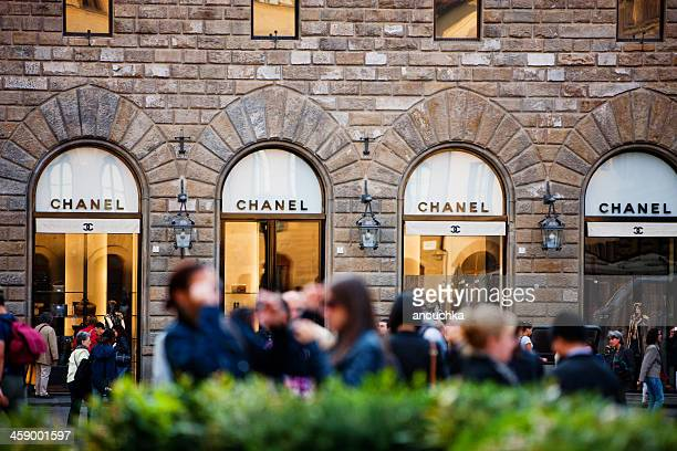 chanel store in florence, piazza della signoria, italy - chanel bag stock pictures, royalty-free photos & images