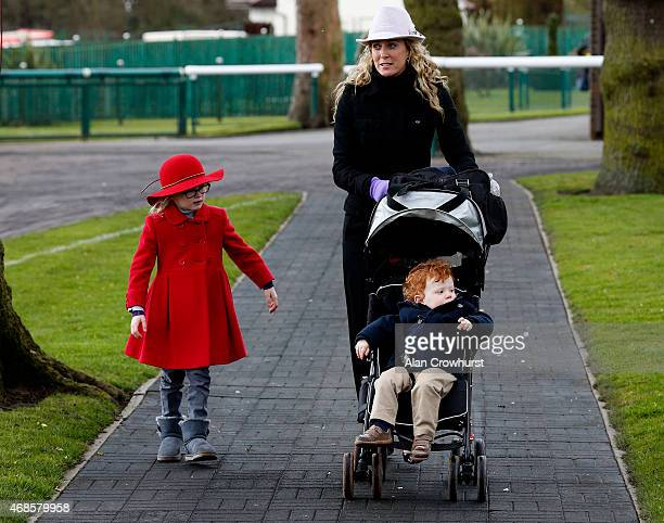 Chanelle McCoy with Eve and Archie at Haydock racecourse on April 04 2015 in Haydock England